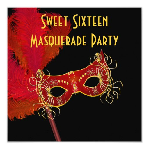 Red Gold Feather Mask Sweet 16 Masquerade Party Invitation