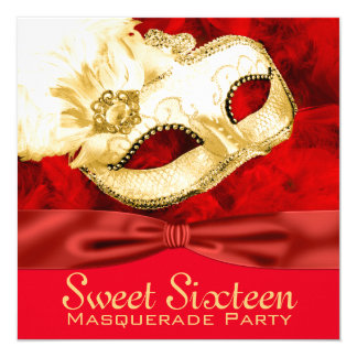 Red Gold Feather Masquerade Party Card