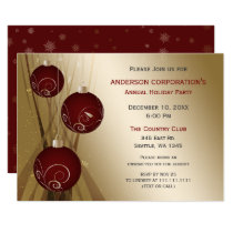 Red Gold Festive Corporate holiday party Card