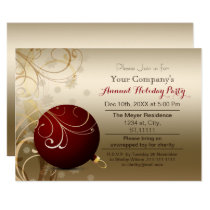 red gold Festive Corporate holiday party Invitation