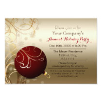 red gold Festive Corporate holiday party Invite