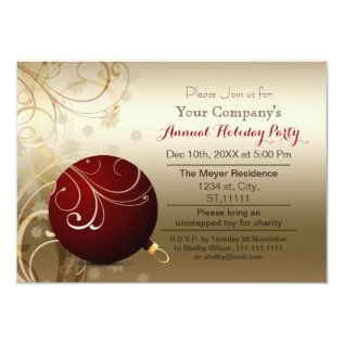 red gold Festive Corporate holiday party Invite at Zazzle