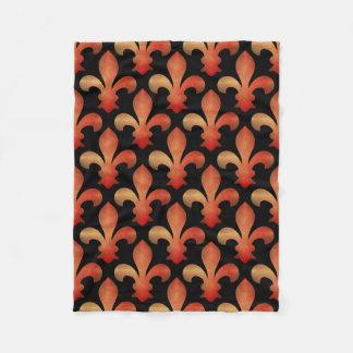 Red Gold Fleur de Lis Black Fleece Blanket