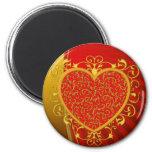 Red Gold Fleur de lis Heart 2 Inch Round Magnet