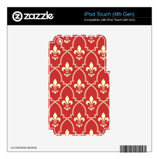 Red,gold,fleur de lis,vintage,royal,antique,chic, decals for iPod touch 4G