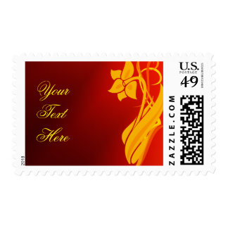 Red & Gold Floral Postage