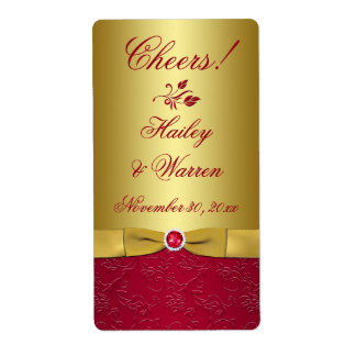 Red, Gold Floral PRINTED RIBBON Wedding Label
