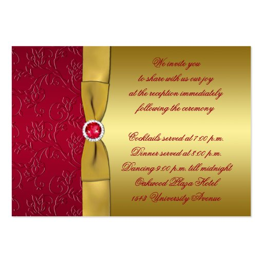 Red gold floral reception enclosure card business cards