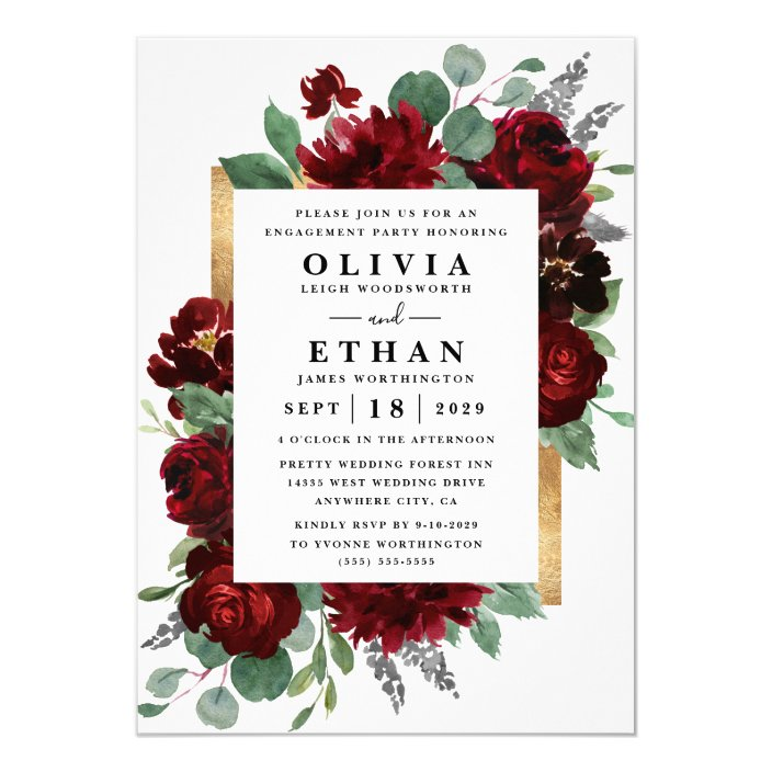 Red Gold Floral Rustic Elegant Engagement Party Invitation   Zazzle ...