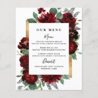 Red Gold Floral Rustic Elegant White Wedding Menus