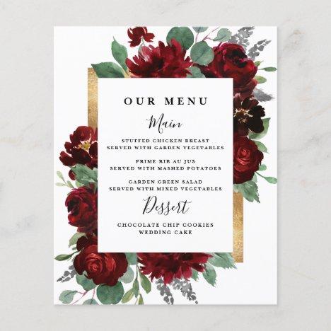Red Gold Floral Rustic Elegant White Wedding Menus