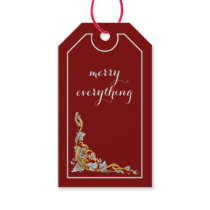 red gold flourish christmas Holidays Gift Tag
