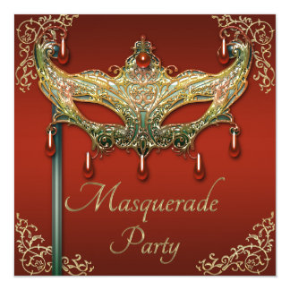 Red Gold Flourishes Ruby Mask Masquerade Party Card