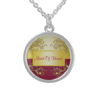 Red & Gold Flowering Vines Monogram Wedding Round Pendant Necklace