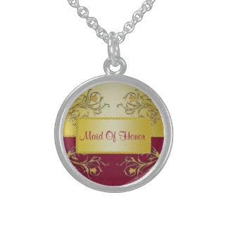 Red & Gold Flowering Vines Monogram Wedding Sterling Silver Necklace