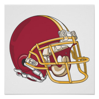 Red & Gold Football Helmet Poster
