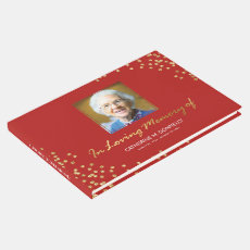 Red Gold Funeral Condolence | Photo Memorial Guest Book