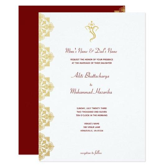 Indian Wedding Food Menu Samples: Red & Gold Ganesha And Mehndi Indian Wedding Invitation