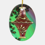 Red Gold Glass Bulb Double-Sided Oval Ceramic Christmas Ornament