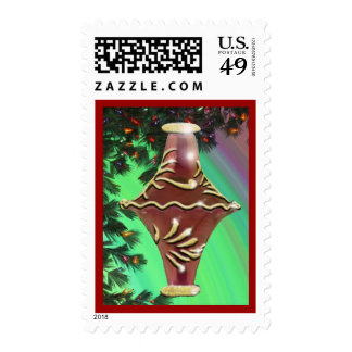 Red Gold Glass Bulb Postage Stamp