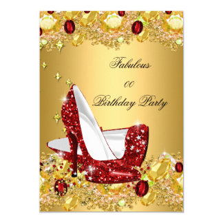Red Gold Glitter High Heels Fabulous Party Card