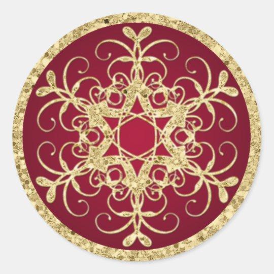 Red, Gold Glitter LOOK Snowflake Wedding Sticker