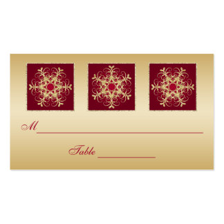 Red, Gold Glitter LOOK Snowflakes Placecards Business Card