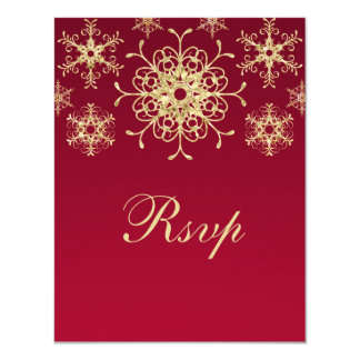 Red, Gold Glitter LOOK Snowflakes RSVP Card Announcement