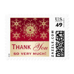 Red Gold Glitter LOOK Snowflakes Thank You Postage