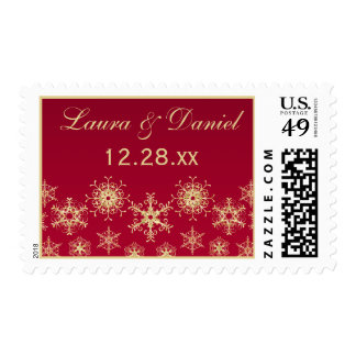 Red, Gold Glitter LOOK Snowflakes Wedding Postage