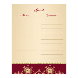 Red, Gold Glitter Snowflakes Guest Book Paper Letterhead