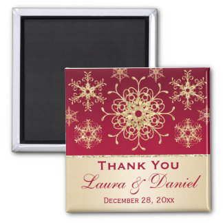 Red, Gold Glitter Snowflakes Wedding Favor Magnet