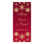 Red, Gold Glitter Snowflakes Wedding Menu Card Rack Cards