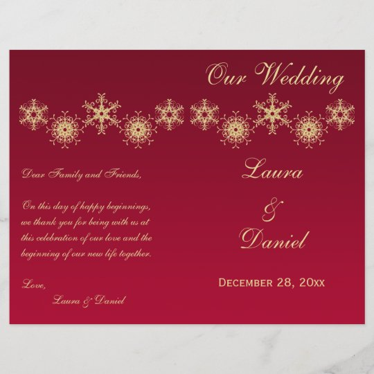 Red Gold Glitter Snowflakes Wedding Program