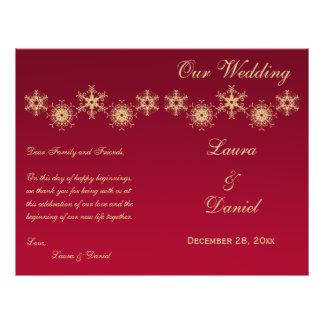 Red, Gold Glitter Snowflakes Wedding Program