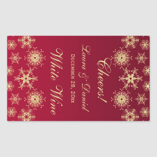 Red, Gold Glitter Snowflakes Wine Label Sticker