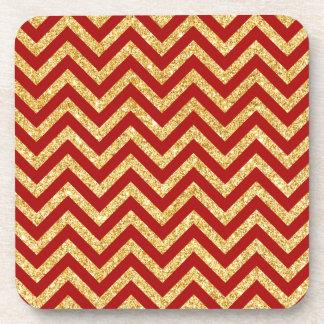 Red Gold Glitter Zigzag Stripes Chevron Pattern Beverage Coaster