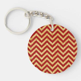 Red Gold Glitter Zigzag Stripes Chevron Pattern Keychain
