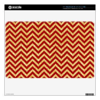 Red Gold Glitter Zigzag Stripes Chevron Pattern MacBook Skin