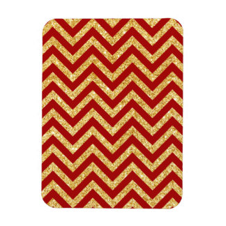 Red Gold Glitter Zigzag Stripes Chevron Pattern Magnet