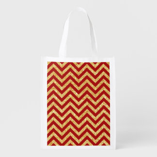 Red Gold Glitter Zigzag Stripes Chevron Pattern Reusable Grocery Bag