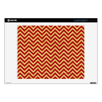 "Red Gold Glitter Zigzag Stripes Chevron Pattern Skin For 14"" Laptop"