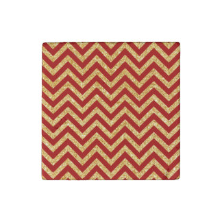 Red Gold Glitter Zigzag Stripes Chevron Pattern Stone Magnet