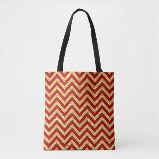 Red Gold Glitter Zigzag Stripes Chevron Pattern Tote Bag