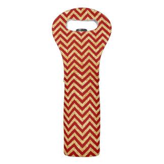 Red Gold Glitter Zigzag Stripes Chevron Pattern Wine Bag