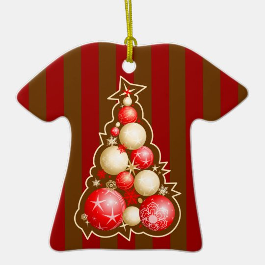 Red & Gold Globes Christmas Tree Ceramic Ornament