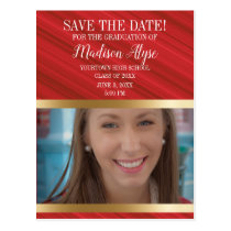 Red Gold Graduation Photo Save Date Vertical Postcard