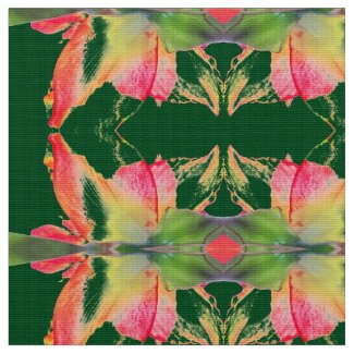 Red Gold Green Amaryllis Abstract Fabric