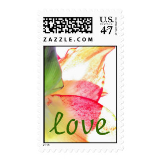 Red Gold Green Amaryllis Abstract LOVE Postage