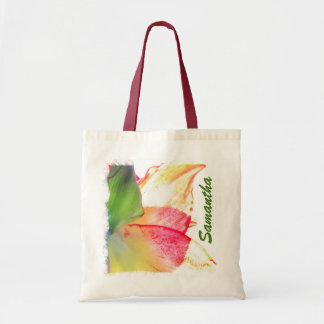 Red Gold Green Amaryllis Abstract Personalized Tote Bag